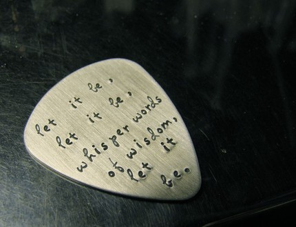 """Let It Be"" on a guitar pick"